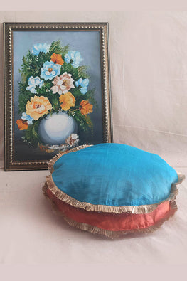 Whebyabira-Handmade Solid Peach Kota festive cushion cover