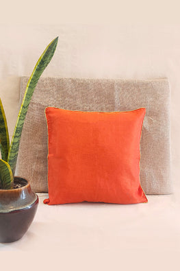 Whebyabira-Handmade Solid Orange Kota festive cushion cover