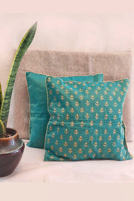 Whebyabira-Handmade Solid Green Kota festive cushion cover