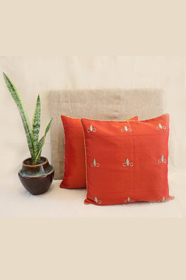 Whebyabira-Handmade Solid Red Kota festive cushion cover