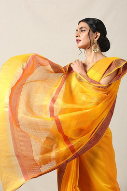 Handweave Maheshwari Handloom Organza, Silk- Cotton Saree Col -Yellow, Blouse Colour- Yellow.