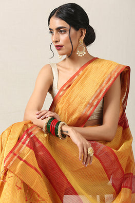 Handweave Maheshwari Handloom Silk Cotton Saree Col-Mustard, Blouse Colour- Red.