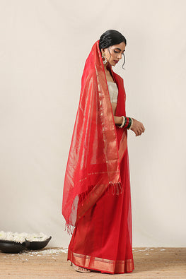 Handweave Maheshwari Handloom Silk Cotton Saree Col- Red, Blouse Colour -Red