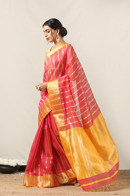 Handweave Maheshwari Handloom Silk Cotton Saree Col- Dark Pink & Yellow, Blouse Colour -Yellow.