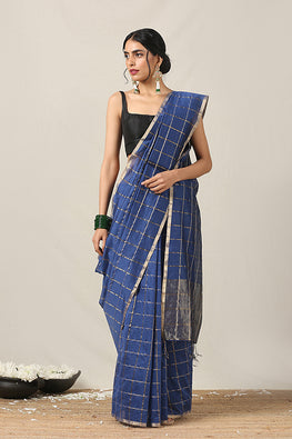 Handweave Maheshwari Handloom Silk Cotton Saree Col-Blue, Blouse Colour -Blue.