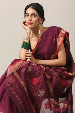 Handweave Maheshwari Handloom Silk Cotton Saree Col-Purple with Red& Gold motifs , Blouse Colour -Red.