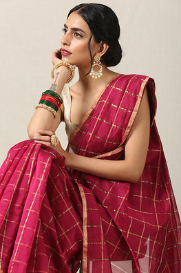 Handweave Maheshwari Handloom Silk Cotton Saree Col- Majenta with Gold Border, Blouse Colour Rani
