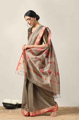 Handweave Maheshwari Handloom Silk Cotton Saree Col-Beige, Blouse Colour Red.