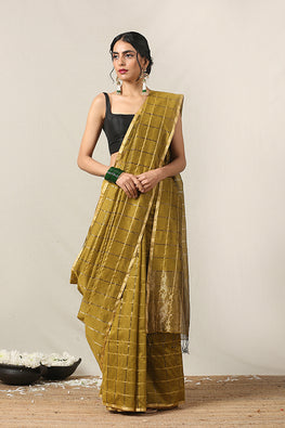 Handweave Maheshwari Handloom Silk Cotton Saree Col-D.Fwan with Zari, Blouse Colour Fawn.