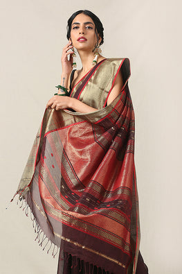 Handweave Maheshwari Handloom Silk Cotton Saree Col-Aubergine with Zari , Blouse Colour -Dark Red.