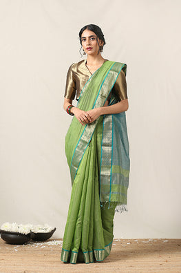 Handweave Maheshwari Handloom Half Tissue Col-Green & Blue Saree, Blouse Colour Sea Green.