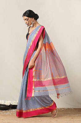 Handweave Maheshwari Handloom Silk Cotton Col-Check Saree , Blouse Colour Orange.