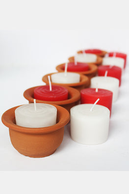 "Craftlipi ""HAT"" Pot Candle Holder (Set of 6) with 12 Pillar Aromatic Candles"