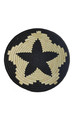 12' Natural and Black Flower Handmade Wall Decor of Sabai Grass