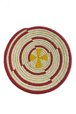 12' Natural, Yellow and Maroon Spiral Handmade Wall Decor of Sabai Grass