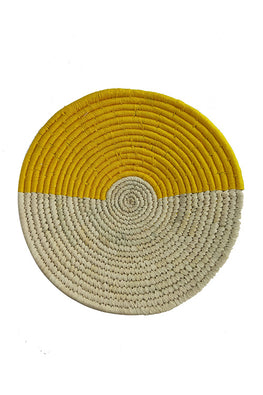 10' Natural and Yellow Handmade Wall Decor of Sabai Grass
