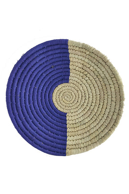 10' Natural and Blue Handmade Wall Decor of Sabai Grass