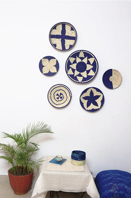 Set of 6 Natural and Blue Handmade Wall decor of Sabai Grass