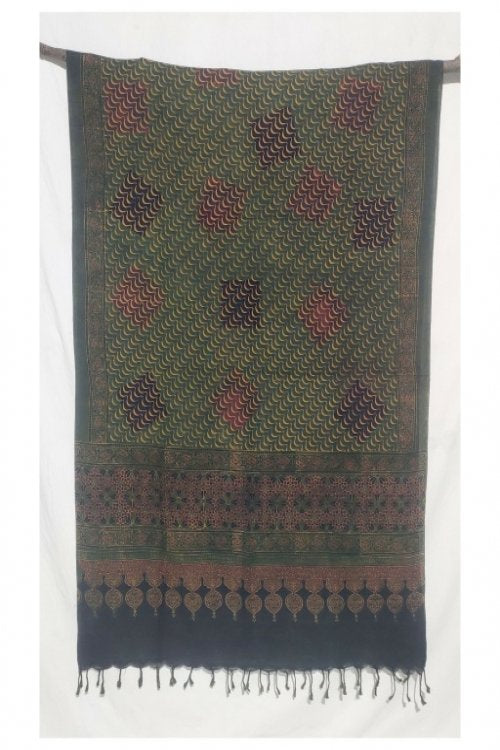 Hastkaar 'Hermosa' Traditional Ajrakh Handloom cotton Dupatta-6