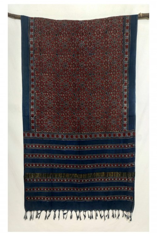 Hastkaar 'Hermosa' Traditional Ajrakh Handloom cotton Dupatta-44