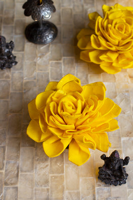 Okhai Handcrafted Yellow Marigold Sola Wood Flowers Online