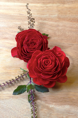 Okhai Handcrafted Red Rose Sola Wood Flowers Online