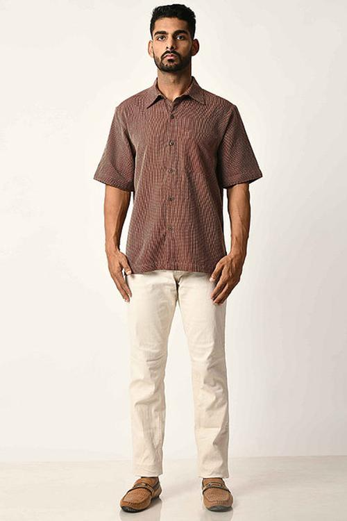 Maroon Handwoven Dobby Stripe Cotton Half Sleeve Shirt