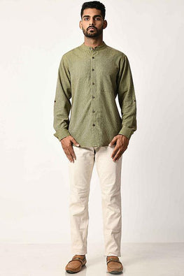 Green Handwoven Dobby Stripe Cotton Full Sleeve Shirt