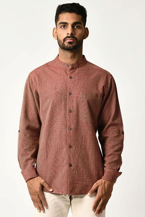 Maroon Handwoven Dobby Stripe Cotton Full Sleeve Shirt