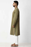 Green Handwoven Dobby Stripe Cotton Full Sleeve Long Kurta