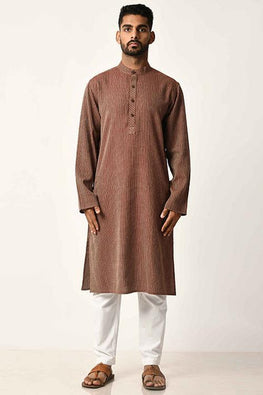 Maroon Handwoven Dobby Stripe Cotton Full Sleeve Long Kurta