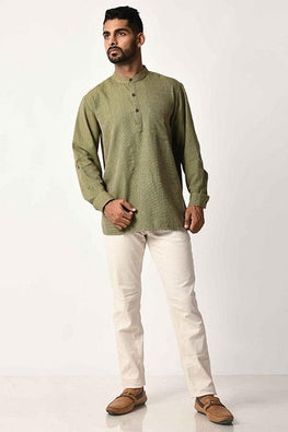 Green Handwoven Dobby Stripe Cotton Full Sleeve Short Kurta