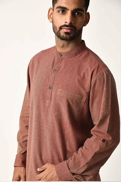 Maroon Handwoven Dobby Stripe Cotton Full Sleeve Short Kurta