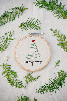 Okhai 'Xmas Tree' Hand Embroidered Hoop