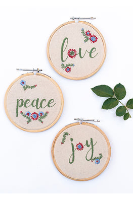 Okhai 'Keepsake' Hand Embroidered Set of 3 Hoops