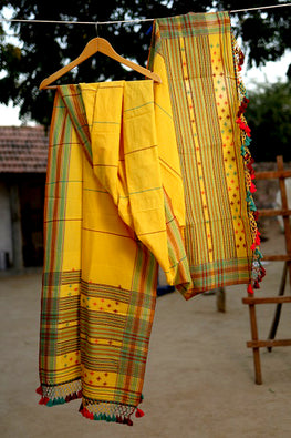 `The Handloom Tree' Kutchi Extra Weft Weaving Cotton Dupatta Colour -  Yellow-29