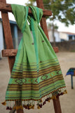 `The Handloom Tree' Kutchi Extra Weft Weaving Cotton Stole Colour -  Green-22