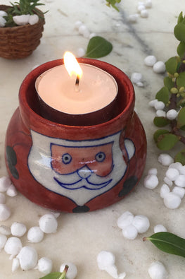 "Ram Gopal Blue Pottery Handcrafted "" Christmass T-Candles"" Santa Candle Stand  (Set Of 2)-38"