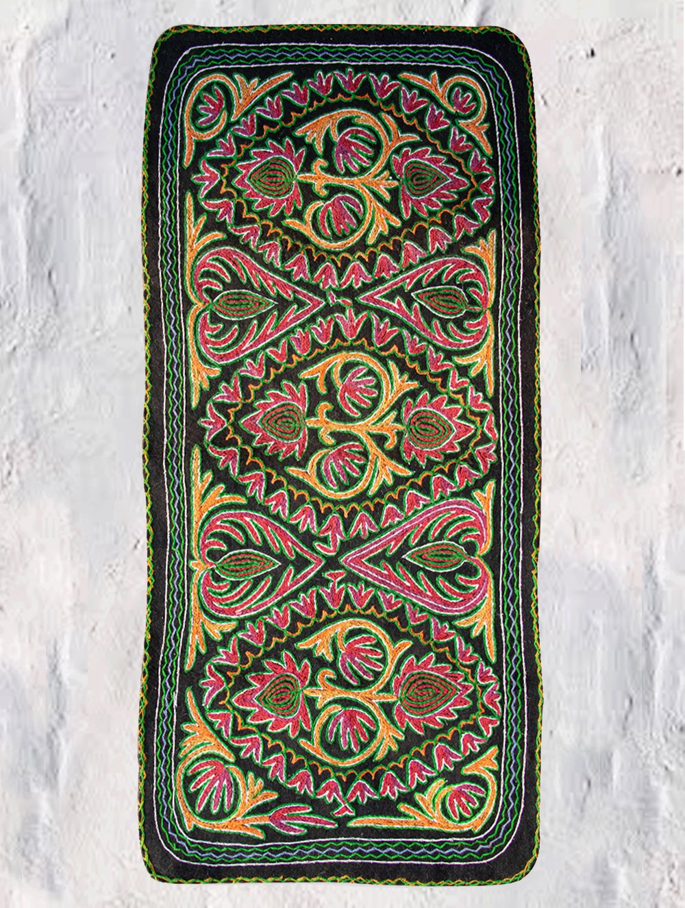 Hand Felted & Embroidered Kashmiri Namda Woollen Meditation / Yoga Rug