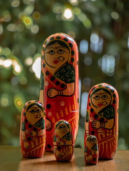 Handcrafted Wooden  5-in-1 Doll Set - The India Craft House