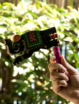 Handcrafted Wooden Kit Kat Sound Toy - Twirling Elephant - The India Craft House