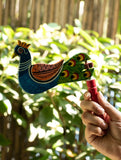 Handcrafted Wooden Kit Kat Sound Toy - Twirling Peacock - The India Craft House