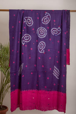 Urmul 'Double shade purple and  pink' Hand Embroidered mirror and katchi work bhandhej woollen shawl