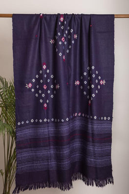 Urmul 'purple' Hand Embroidered  katchi work bhandhej woollen Shawl