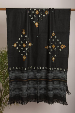 Urmul 'black' Hand Embroidered  katchi work bhandhej woollen Shawl