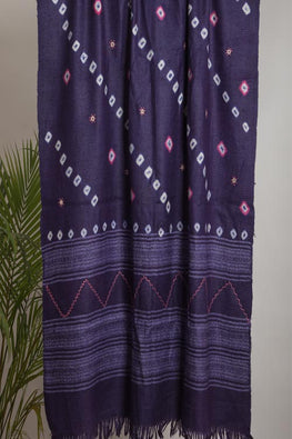 Urmul 'purple' Hand Embroidered mirror work bhandhej woollen shawl