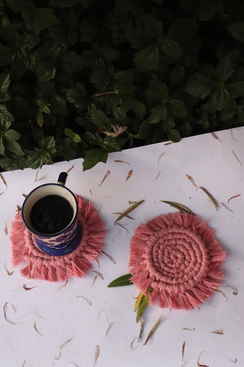 Handcrafted Macrame Round Coasters (Set of 2) - Pink