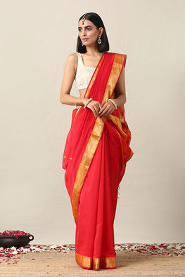 Okhai Cotton Handloom Orange Zari Border Maheshwari Silk Saree Online