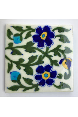 Blue Pottery Handcrafted Tile-90