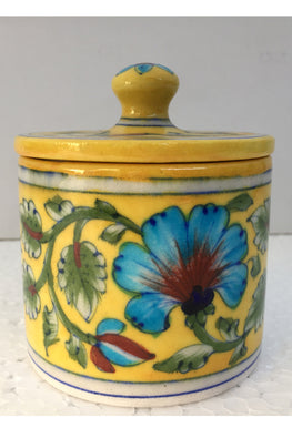 Blue Pottery Handcrafted Storage Jar-84
